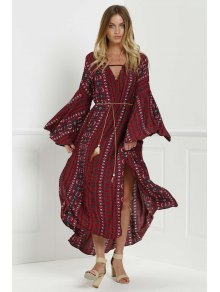 Bell Sleeve Tribal Pattern Print Dress - Red L