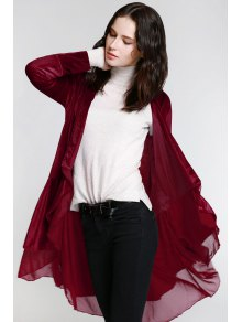 Swingy Velvet Long Sleeve Coat - Claret Xl