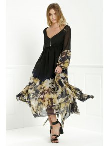 Long Sleeve Printed Maxi Chiffon Dress - Black S