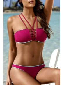 Pure Color Halterneck Bikini Set