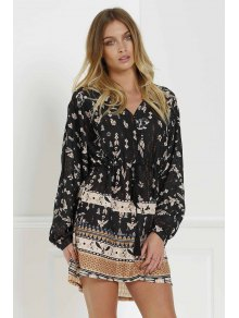 Retro Print V Neck Long Sleeves Dress