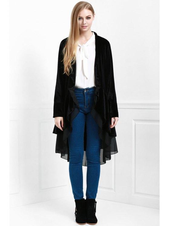 Velvet Swingy Manteau à manches longues - Noir S