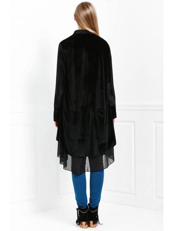 Swingy Velvet Long Sleeve Coat - BLACK L Mobile