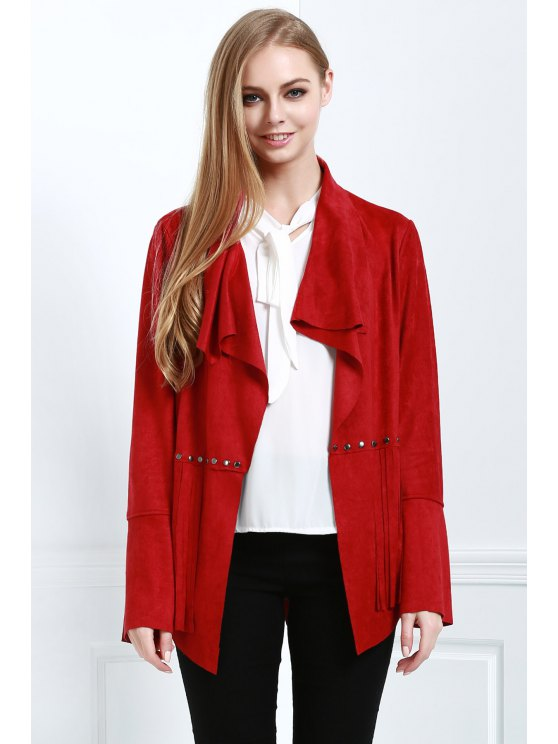 Fringe Suede Coat - RED XL Mobile