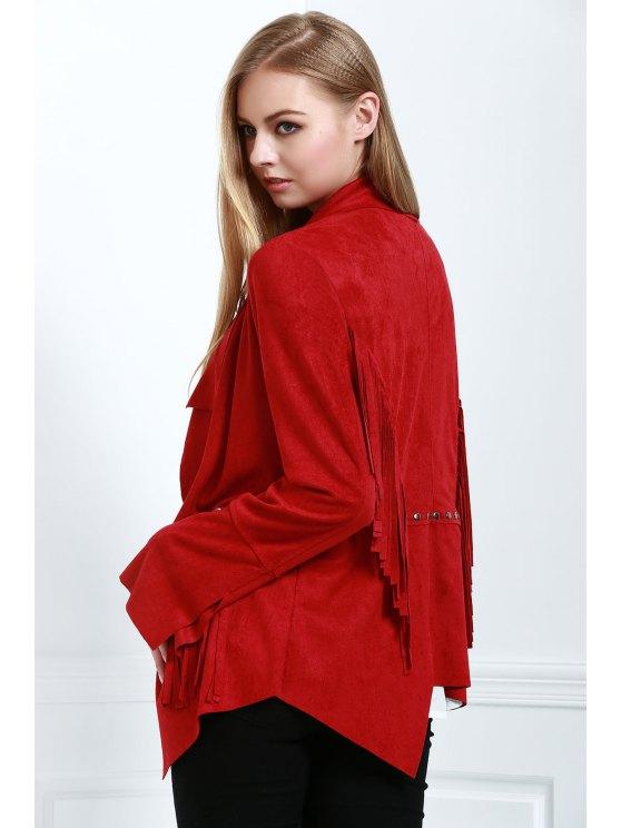 Fringe Suede Coat - RED M Mobile