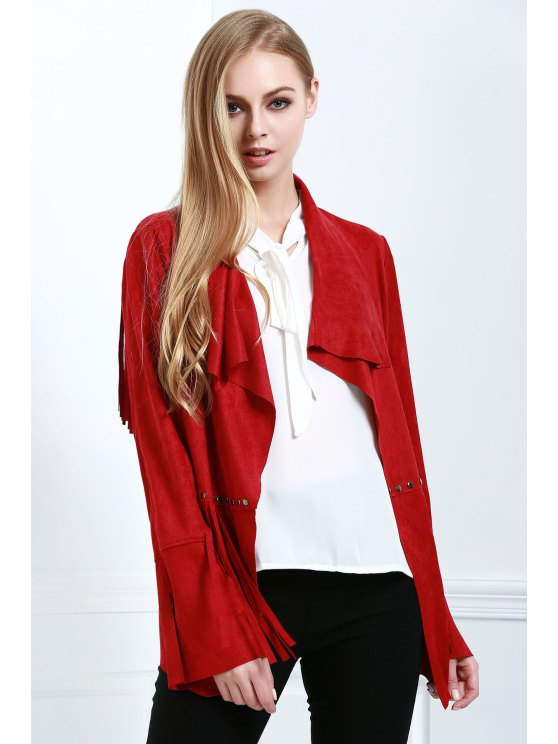 buy Fringe Suede Coat - RED S