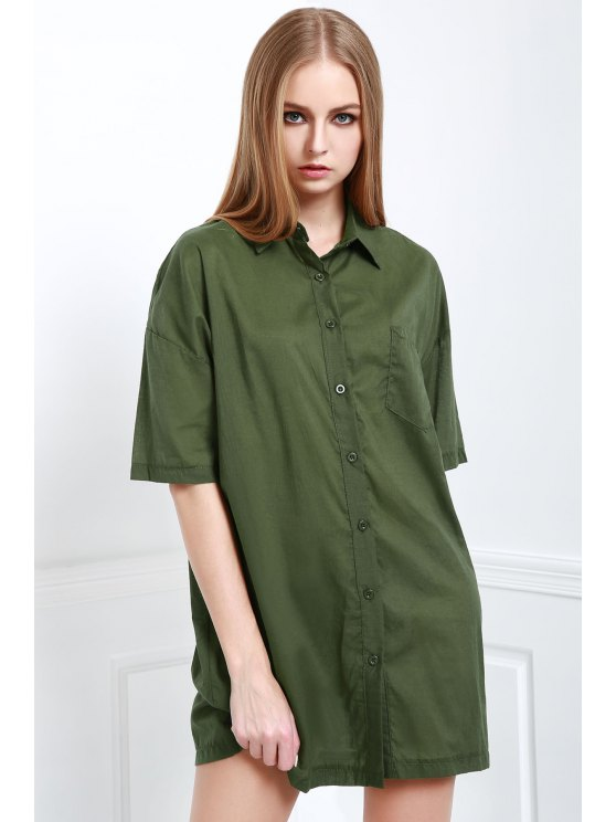 outfits Army Green V Neck Half Sleeve Dress - ARMY GREEN S
