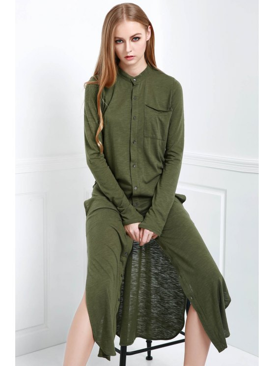 trendy Long Sleeve Solid Color Maxi Cardigan - OLIVE GREEN S
