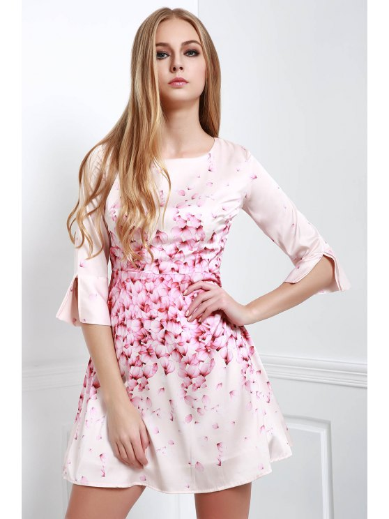 shops Petal Print Round Neck Half Sleeve Dress - WHITE S