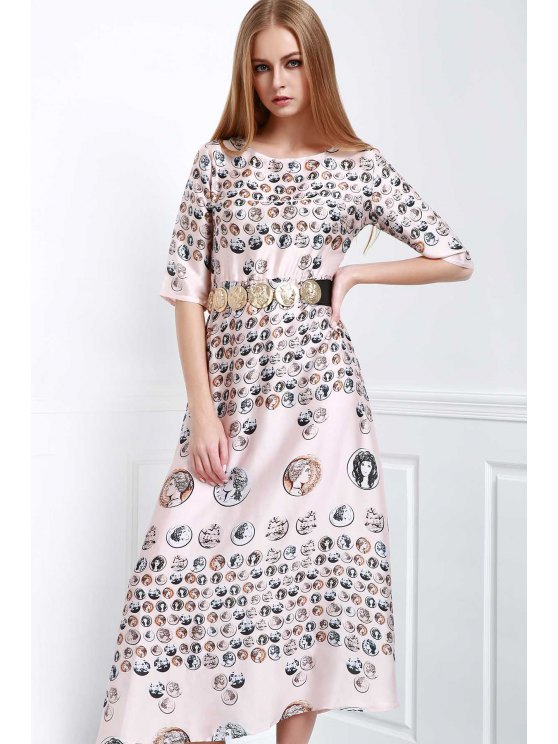 shop Waisted Printed Round Collar Half Sleeves Dress - COLORMIX XS