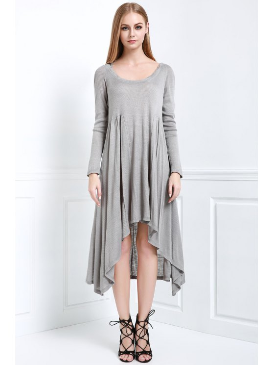 trendy Solid Color Hooded Long Sleeve Dress - GRAY S
