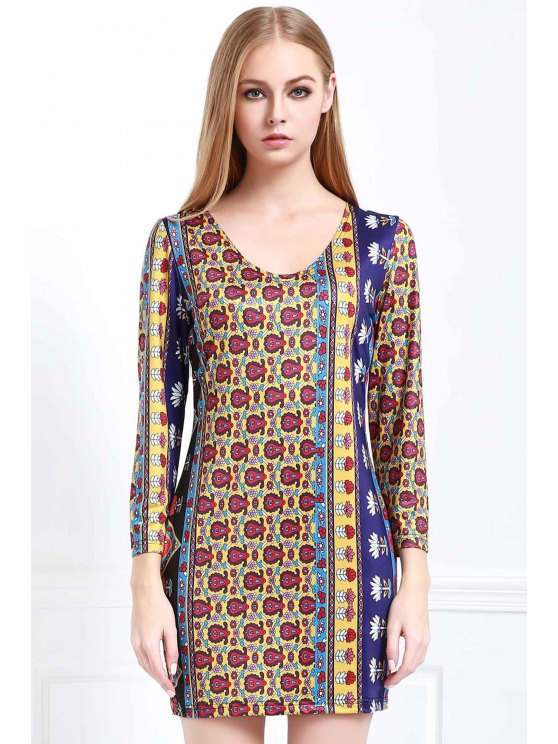 latest Low Back Printed Bodycon Dress - COLORMIX M