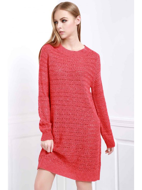 affordable Loose-Fitting Sweater Dress - RED ONE SIZE(FIT SIZE XS TO M)