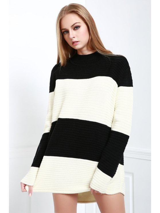 outfits Turtle Neck White and Black Jumper - BLACK AND WHITE ONE SIZE(FIT SIZE XS TO M)