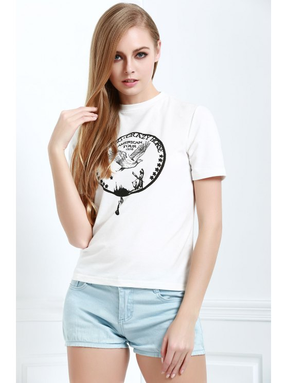 online Brief Letter Pattern Print Casual Short Sleeves T-Shirt - WHITE XS