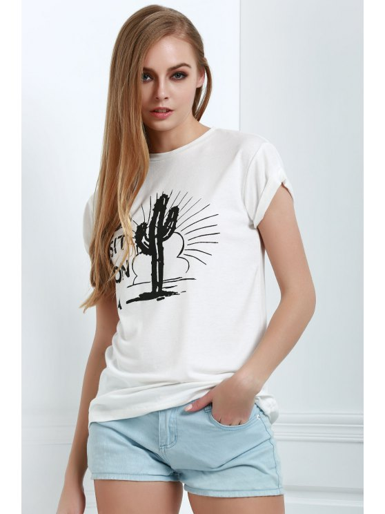 fancy Short Sleeve Letter Cactus White T-Shirt - WHITE XS