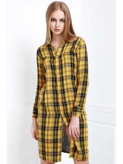 Long Sleeve Single-Breasted Plaid Dress - Yellow Xl
