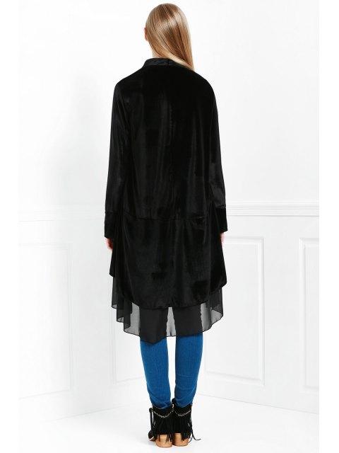 hot Swingy Velvet Long Sleeve Coat - BLACK L Mobile