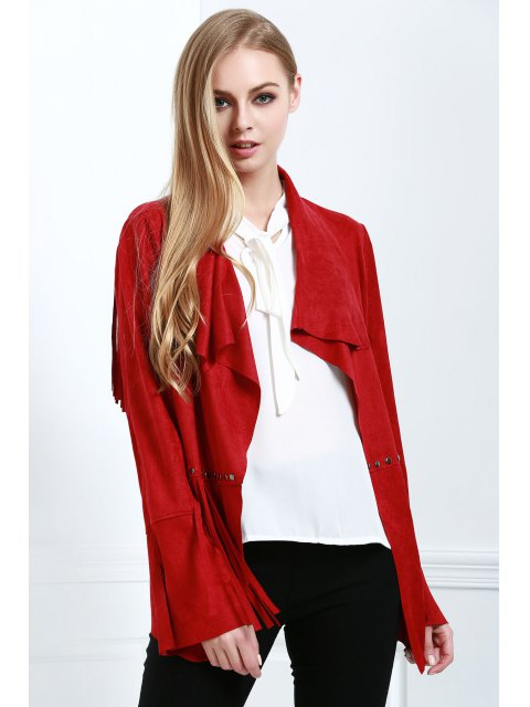 affordable Fringe Suede Coat - RED M Mobile