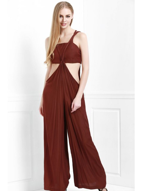latest Cami Solid Color with Boob Tube Top Jumpsuit - COFFEE M Mobile
