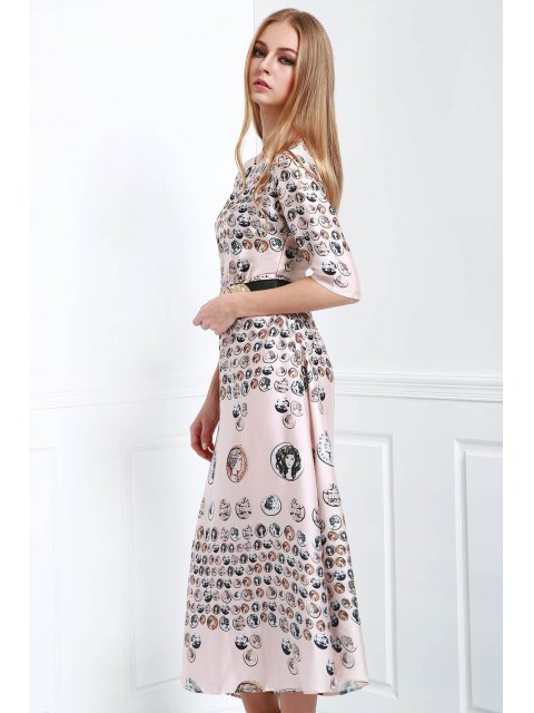 latest Waisted Printed Round Collar Half Sleeves Dress - COLORMIX M Mobile