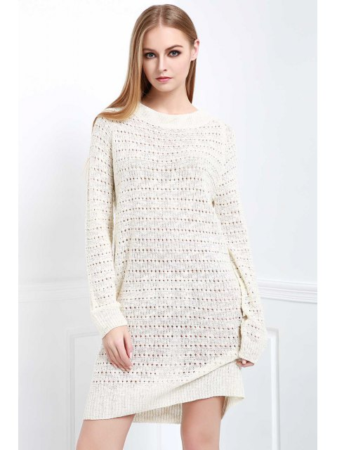 buy Loose-Fitting Sweater Dress - WHITE ONE SIZE(FIT SIZE XS TO M) Mobile