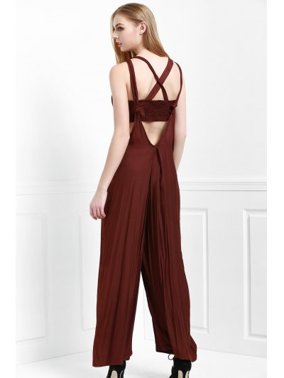 Cami Solid Color with Boob Tube Top Jumpsuit - COFFEE M Mobile