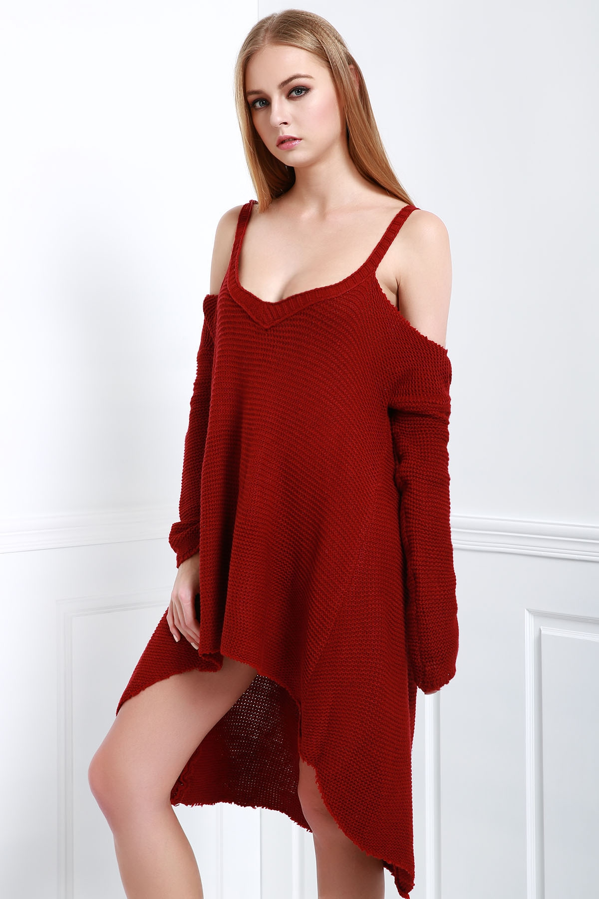 Cut Out Irregular Hem Sweater