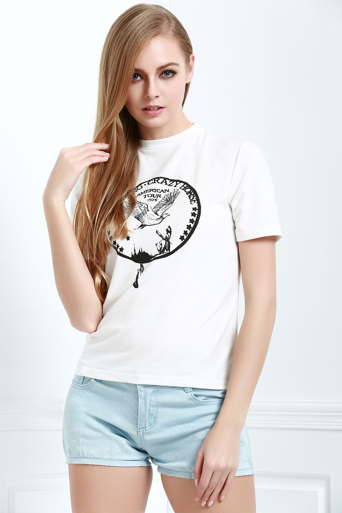 Brief Letter Pattern Print Casual Short Sleeves T-Shirt - WHITE XS