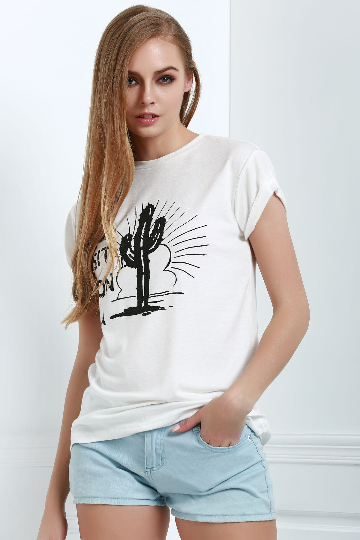 Round Neck Short Sleeve Letter Cactus Print White T-Shirt