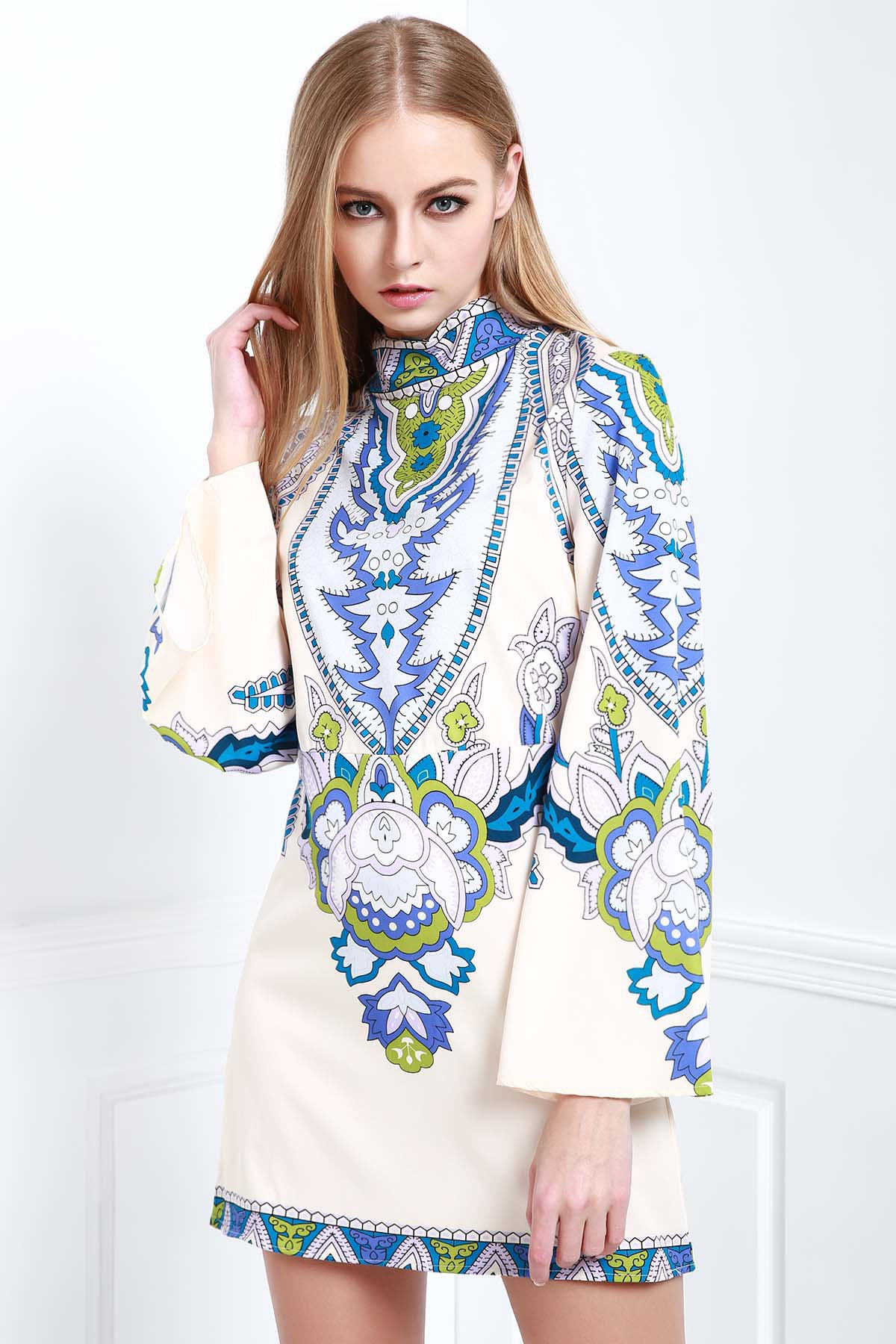 Stand Neck Bell Sleeve Totem Print Dress