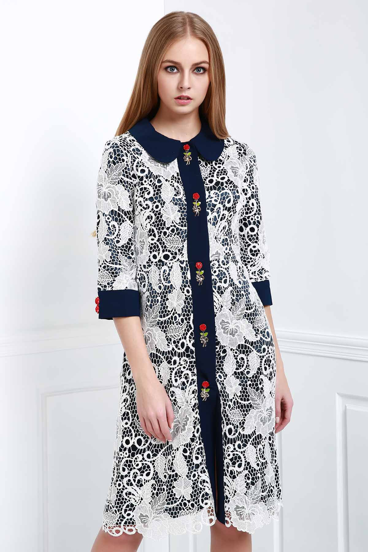 Turn Down Collar Short Sleeve Voile Floral Dress