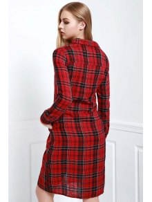 Long Sleeve Single-Breasted Plaid Dress
