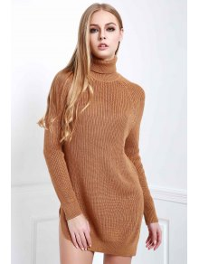 Solid Color Side Slit Long Sleeevs Turtle Neck Sweater