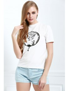Brief Letter Pattern Print Casual Short Sleeves T-Shirt