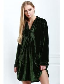 Loose Velvet Shirt Dress - ARMY GREEN S