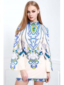 Bell Sleeve Totem Print Dress