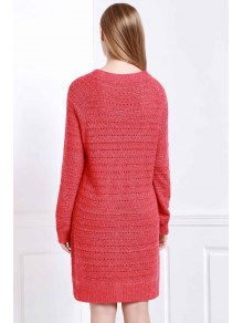 Loose-Fitting Sweater Dress - RED ONE SIZE(FIT SIZE XS TO M)