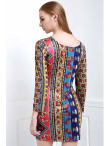Low Back Printed Bodycon Dress - COLORMIX S