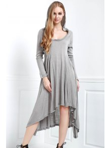 Solid Color Hooded Long Sleeve Dress