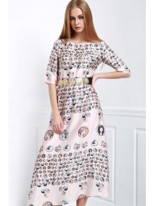 Waisted Printed Round Collar Half Sleeves Dress