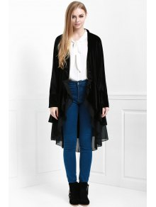 Swingy Velvet Long Sleeve Coat - Black Xl