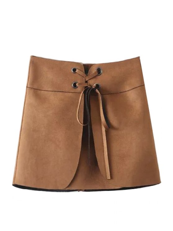 online Lace-Up A Line Suede Skirt - KHAKI S