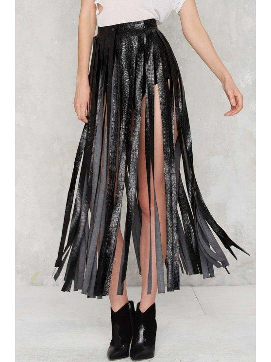 women Skirting With Fate Fringe Skirt - BLACK M