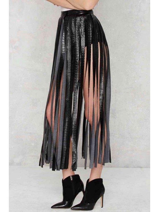 Skirting With Fate Fringe Skirt - BLACK S Mobile