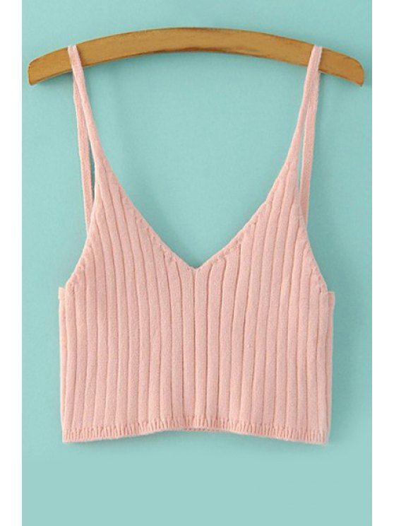 ladies Spaghetti Strap Solid Color Knitted Tank Top - PINK ONE SIZE(FIT SIZE XS TO M)