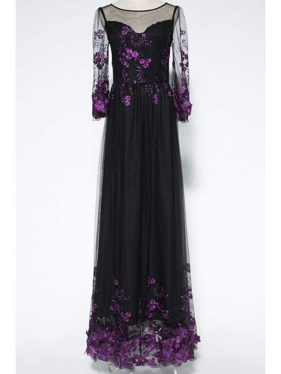 sale Voile Spliced Bell Sleeve Floral Embroidery Maxi Dress - PURPLE S