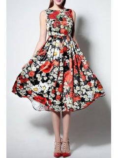 Floral Print Slash Neck Sleeveless Waisted Sun Dress - Xl