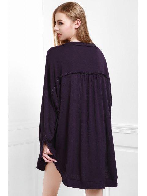 chic Deep Purple Stand Neck Long Sleeve Blouse - DEEP PURPLE S Mobile