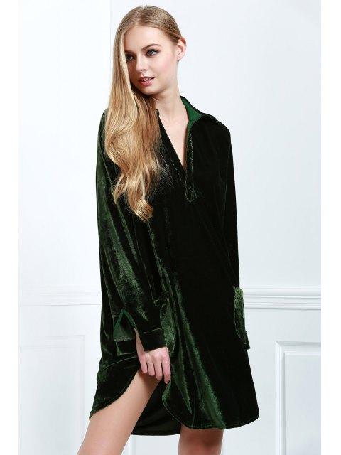 women Loose Velvet Shirt Dress - ARMY GREEN S Mobile